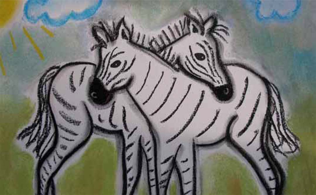 Child's painting of two zebras rubbing each others necks