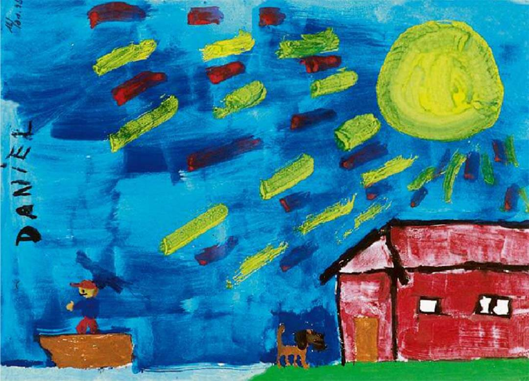 Child's drawing of a house, bright sun and a dog